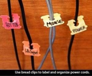 bread clip for cords hack